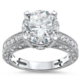 Noori 2 9/10ct Round Moissanite Center 9/10 ct Diamond Engagement Ring 18k White Gold