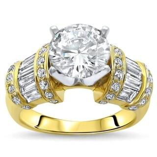 Noori 2ct Round Moissanite Center 1 ct Diamond Surrounding Engagement Ring 14k Yellow Gold - White