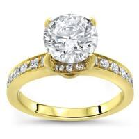 1 1/3ct Noori Round Moissanite Center 4/5 ct Diamond Surrounding Engagement Ring 14k Yellow Gold - White