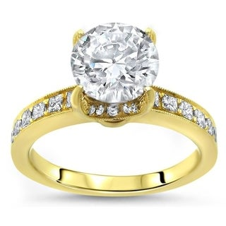 1 1/3ct Noori Round Moissanite Center 4/5 ct Diamond Surrounding Engagement Ring 14k Yellow Gold - White