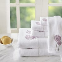 Madison Park Dandelion Purple 6 Pieces Floral Embroidered Terry Towel Set