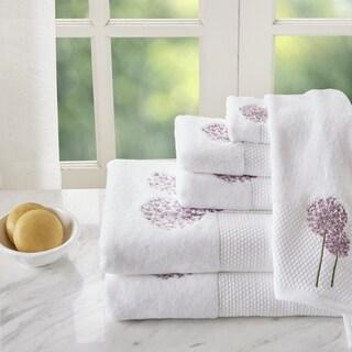 Madison Park Dandelion Purple 6 Pieces Floral Embroidered Terry Towel Set
