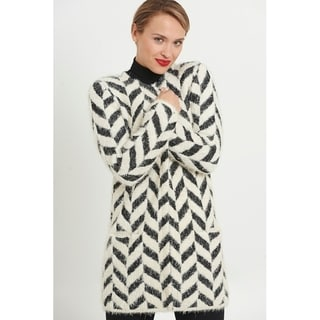 Long Feathered Printed Knit Coat Substitute