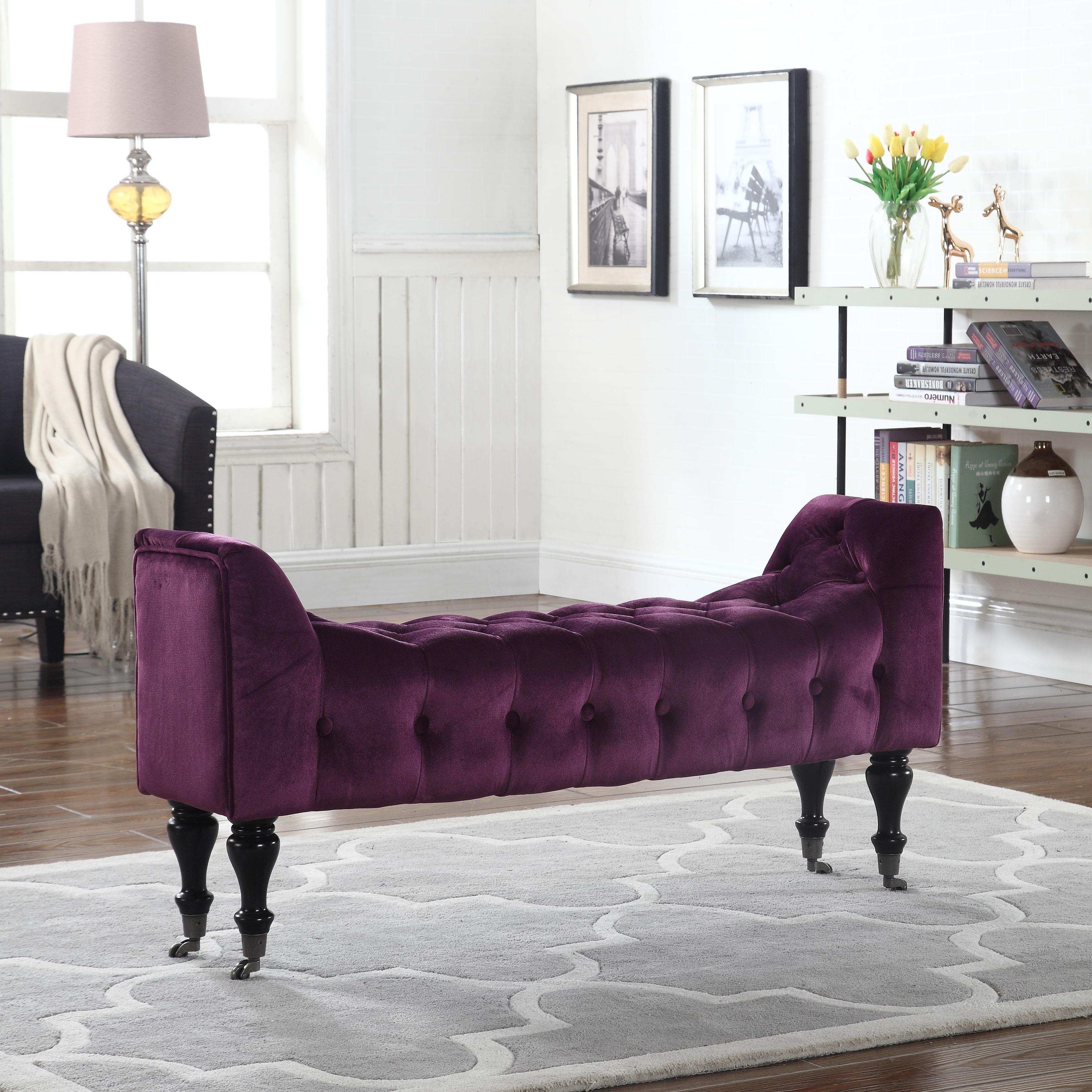 Elegant Velvet Footrest/Footstool/Ottoman with Casters, Tufted ...
