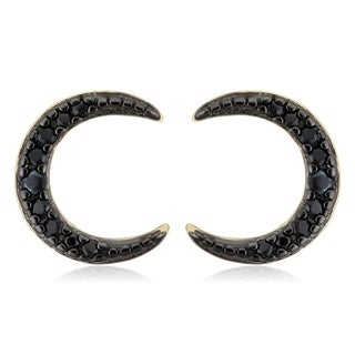 Fremada Yellow Gold Over Sterling Silver Black Spinel Crescent Moon Stud Earrings