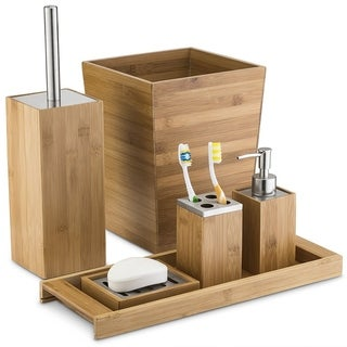 Natural Wood 6 Piece Bath Accessory Collection