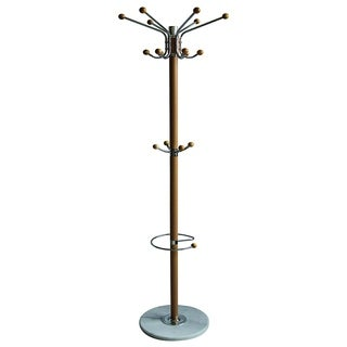 """Sweet Home Collections 16 Hook Metal Coat Rack with Umbrella Holder- Natural (70"""")"""