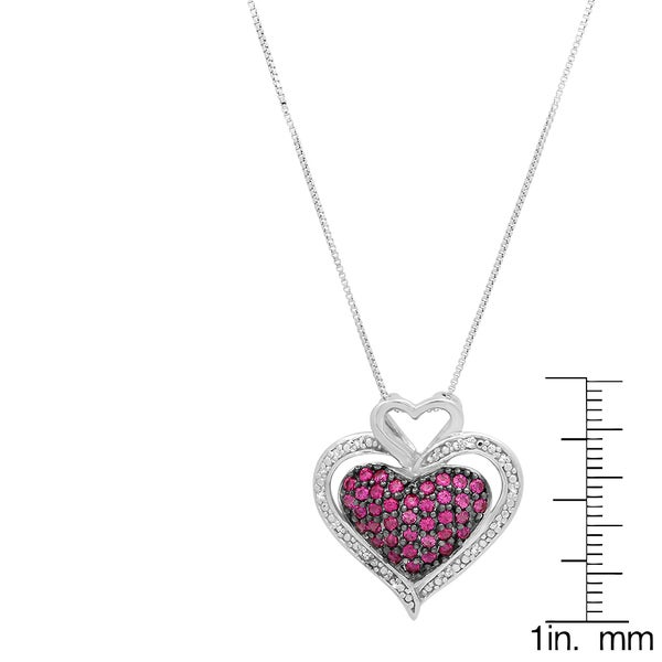 925 SterlingSilver Diamond Accent Birthstone Created Ruby Heart Necklace Pendant