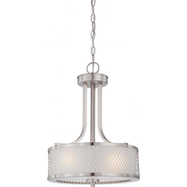 Nuvo Lighting Fusion Brushed Nickel Metal/Frosted Glass 3-light Pendant