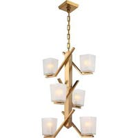 Nuvo Lighting Timone Brass-finished Metal 6-light Pendant with Etched Sandstone Glass Shades