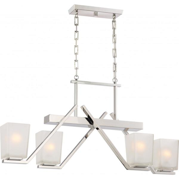 Nuvo Lighting Timone Nickel Metal and Glass 4-light Trestle Pendant