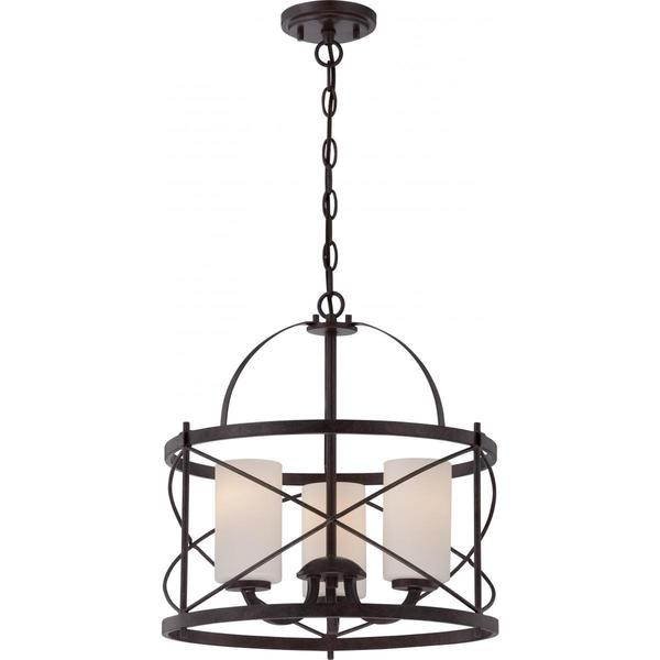 Nuvo Lighting Ginger Old Bronze-finish Metal/Glass 3-light Pendant