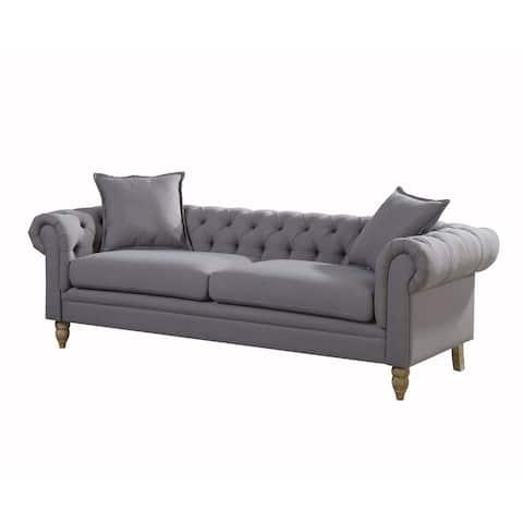 Gracewood Hollow Renault Small Linen Fabric Sofa, Grey