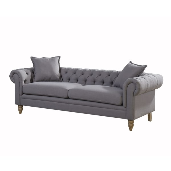 Christies Home Living Juliet Small Chesterfield Linen Fabric Sofa Grey