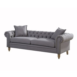 Christies Home Living Juliet Small Chesterfield Linen Fabric Sofa, Grey