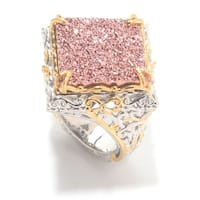 Michael Valitutti Palladium Silver  Diamond Shaped Pink Drusy Scrollwork Ring