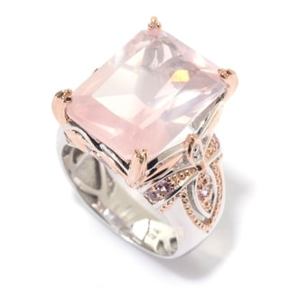 Michael Valitutti Palladium Silver Rose Quartz, Pink Tourmaline & Pink Sapphire Ring