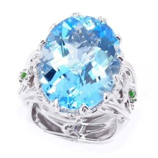 Dallas Prince Sterling Silver Oval Swiss Blue Topaz & Chrome Diopside Ring