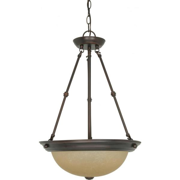 Nuvo Lightning Bronze-finished Metal/Glass 15-inch 3-light Pendant