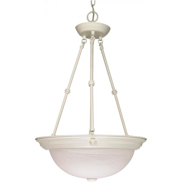 Nuvo Lighting Textured White Metal 15-inch 3-light Pendant with Alabaster Glass Shade
