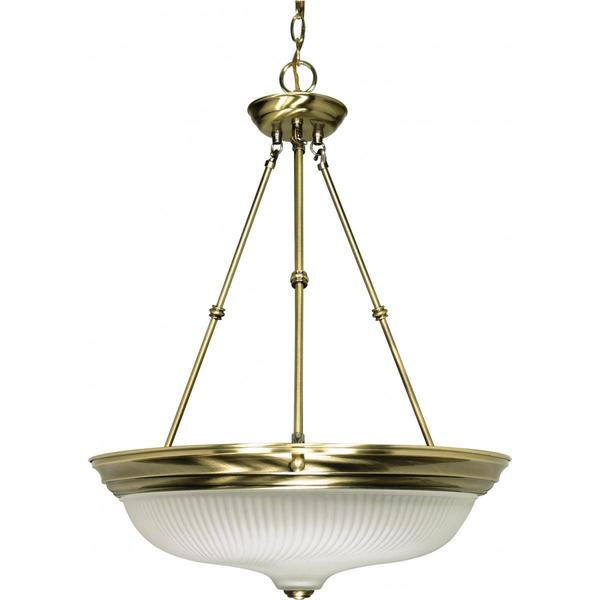 Nuvo Lighting Antique Brass 20-inch 3-light Pendant with Frosted Swirl Glass Shade