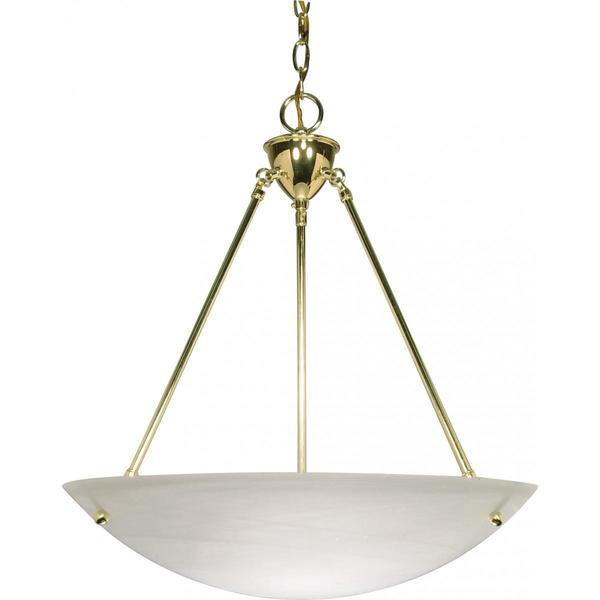 Alabaster Glass Polished Brass Finish 3-light Pendant
