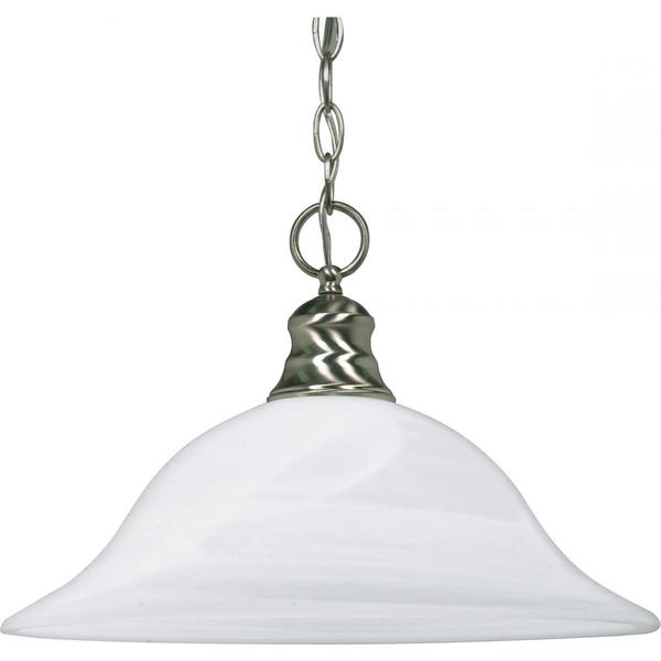 Nuvo Lighting Es Brushed Nickel 16-inch 1-light Es Pendant with Alabaster Glass Shade