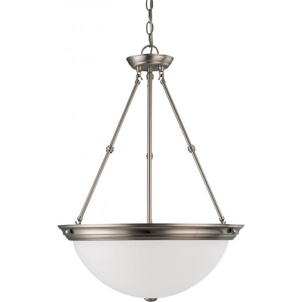 Nuvo Lighting Brushed-nickel-finished Metal 60-watt 3-light 20-inch Pendant Light With Frosted White Glass Shade