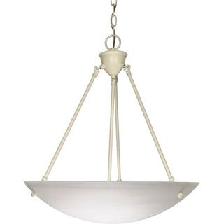 Nuvo Lighting Textured White Metal 3-light Pendant with Alabaster Glass Shade