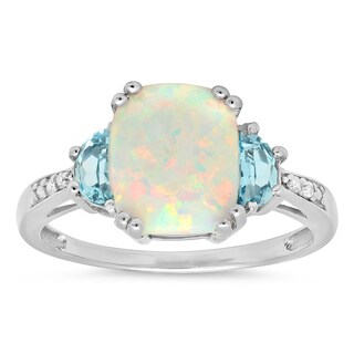 Marabela Sterling Silver Created Opal, Blue Topaz and Diamond Ring
