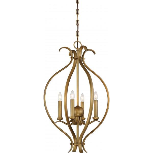 Nuvo Lighting Dillard Brass Finish 4-light Caged Pendant