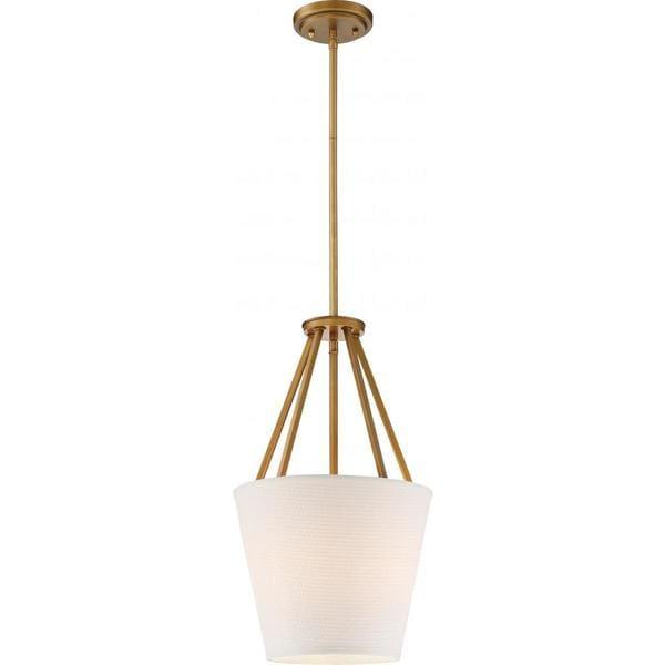Nuvo Lighting Seneca Brass-finished Metal 12-inch 3-light Pendant with Almond Fabric Shade