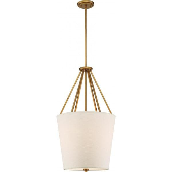 Nuvo Lighting Seneca Brass-finished Metal 17-inch 3-light Pendant with Almond Fabric Shade