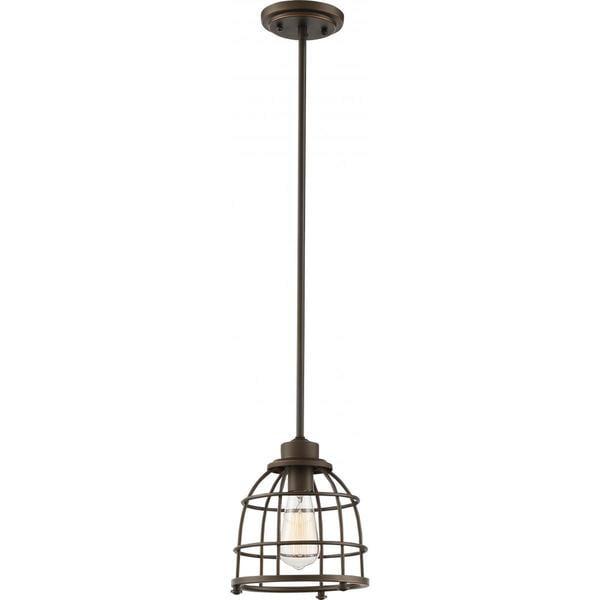 Nuvo Lighting Maxx Mahogany-bronze-finished Metal 60-watt 1-light Medium Caged Pendant Light