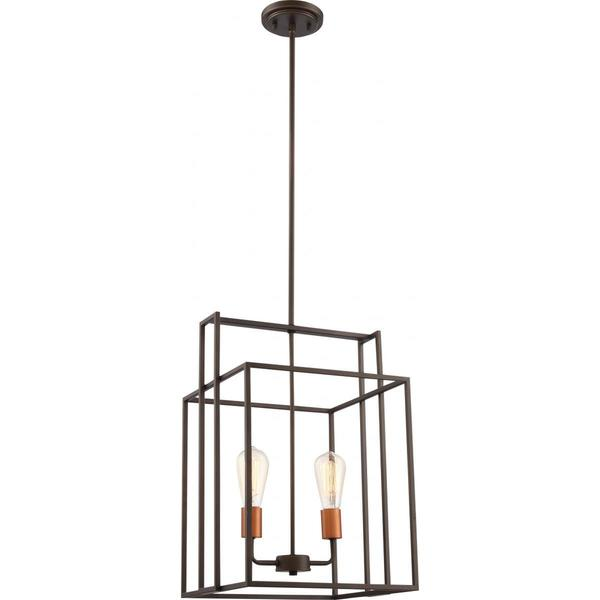 Nuvo Lighting Lake Bronze-finished Metal 2-light 14-inch Square Pendant
