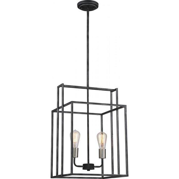 "Nuvo Lighting Lake Black Finish 2-light 14-inch Square Pendant - Length 14.00"", Width 14.00"", Height 20.5"""