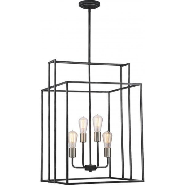 Nuvo Lighting Lake Black Metal 4-light 19-inch Square Pendant