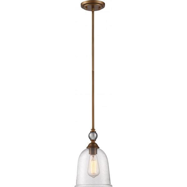"Nuvo Lighting Fern Brass Metal and Glass Small 1-light Pendant - Diameter 7.50"", Height 7.69"""