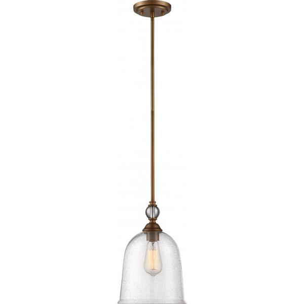 Nuvo Lighting Fern Brass-finished Metal Large Single-light Pendant with Clear Seeded Glass Shade