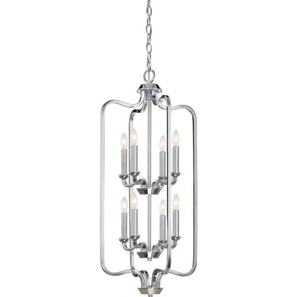 Nuvo Lighting Willow Polished-nickel-finished Metal 2-tier 60-watt 8-light Caged Pendant Light