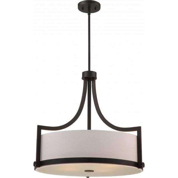 Nuvo Lighting Meadow Russet Bronze-finished Metal 4-light Pendant with White Fabric Shade