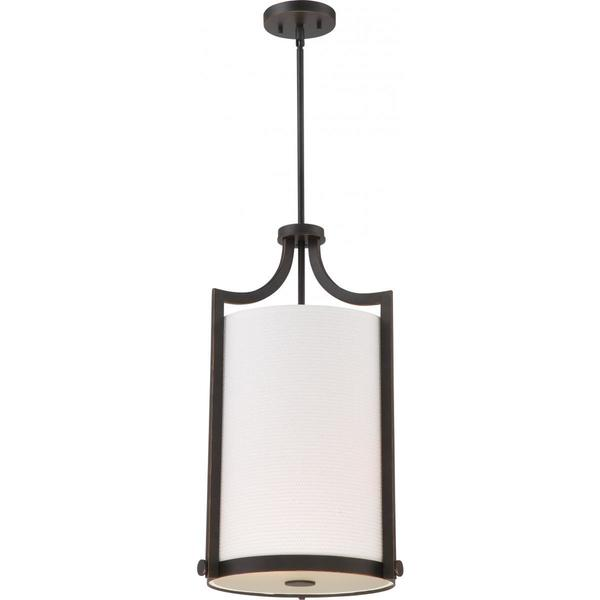 Nuvo Lighting Meadow Russet Bronze-finished Metal 3-light Foyer with White Fabric Shade