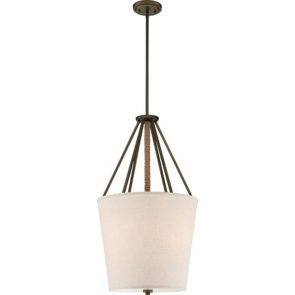 Nuvo Lighting Seneca Bronze 17-inch 3-light Pendant with Beige Linen Shade