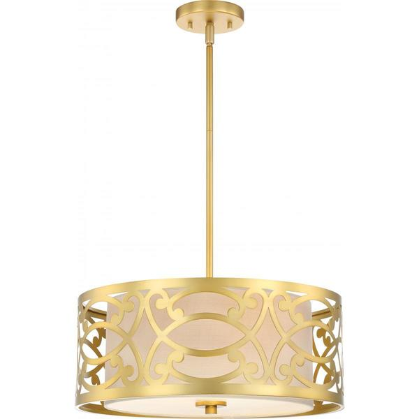 Nuvo Lighting Brass-finished Metal 18-inch 3-light Pendant with Beige Linen Shade