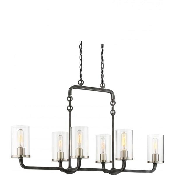 Nuvo Lighting Sherwood Black 6-light Island Pendant with Brushed Nickel Accents and Clear Glass Shades