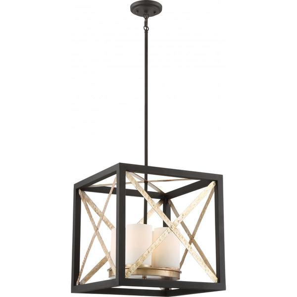 Nuvo Lighting Boxer Black Metal 4-light Pendant with Silverstone Accents