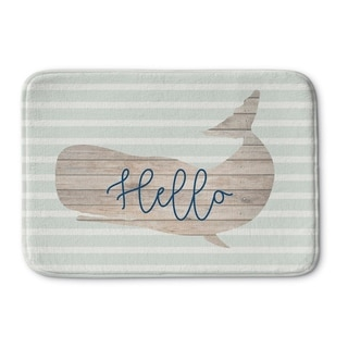 Kavka Designs Grey/Tan/Blue Hello Whale Memory Foam Bath Mat