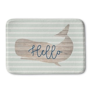 Kavka Designs Grey/Tan/Blue Hello Whale Memory Foam Bath Mat