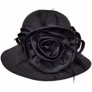 Hatch Women's Satin Flower Wide Brim Paper Braid Wedding Dress Hat