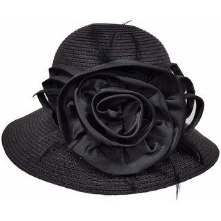 Hatch Women's Satin Flower Wide Brim Paper Braid Wedding Dress Hat
